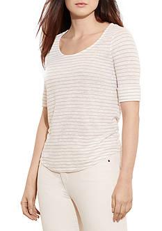 Lauren Ralph Lauren Plus Size Striped Linen Tee