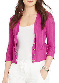 Lauren Ralph Lauren Plus Size Cable-Pointelle Cardigan