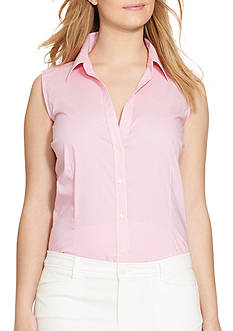 Lauren Ralph Lauren Plus Size Gingham Sleeveless Shirt