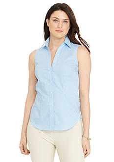 Lauren Ralph Lauren Plus Size Sleeveless Cotton Button-Down Shirt