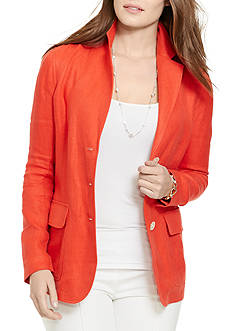 Lauren Ralph Lauren Plus Size Linen Three-Button Jacket