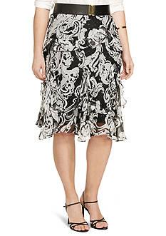 Lauren Ralph Lauren Plus Size Scroll-Print Ruffled Skirt