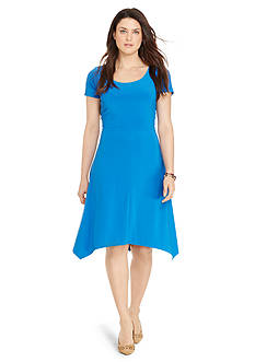 Lauren Ralph Lauren Plus Size Jersey Handkerchief-Hem Dress