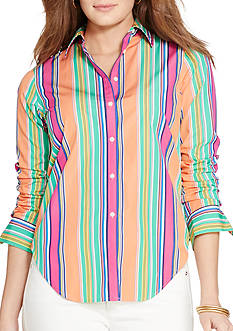 Lauren Ralph Lauren Plus Size Multi-Striped Cotton Shirt