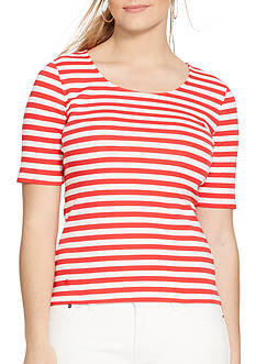 Lauren Ralph Lauren Plus Size Striped Stretch Cotton Tee