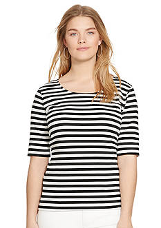 Lauren Ralph Lauren Plus Size Striped Stretch-Cotton Tee