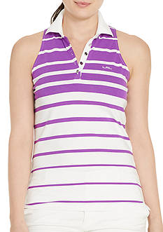 Lauren Ralph Lauren Plus Size Striped Sleeveless Polo Shirt