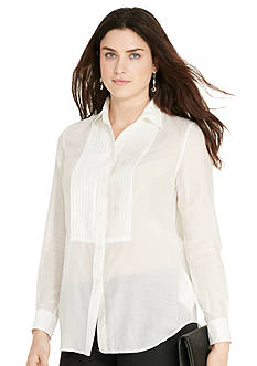 Lauren Ralph Lauren Plus Size Pintucked Cotton-Silk Shirt