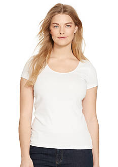 Lauren Ralph Lauren Plus Size Stretch Cotton Scoopneck Tee