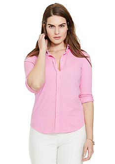 Lauren Ralph Lauren Plus Size Pique-Knit Cotton Shirt