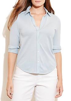 Lauren Ralph Lauren Plus Size Cotton Piqué Shirt