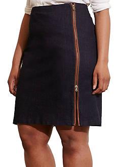 Lauren Ralph Lauren Plus Size Zip-Front Stretch Cotton Skirt