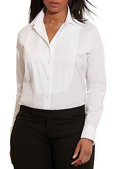 Lauren Ralph Lauren Plus Size Cotton Poplin Bib Shirt