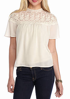 H.I.P Short Sleeve Lace Neck Top