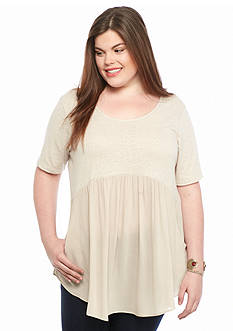 H.I.P Plus Size Babydoll Mixed Material Top
