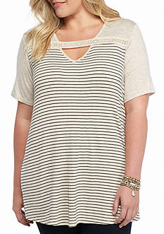 H.I.P Plus Size Crochet Keyhole Striped Top