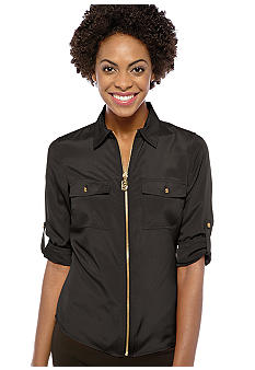 MICHAEL Michael Kors Dog Tag Zip Shirt