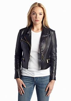 MICHAEL Michael Kors Wide Collar Leather Jacket