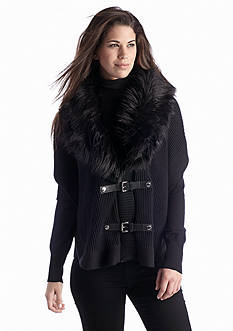 MICHAEL Michael Kors Faux Fur Buckle Up Poncho