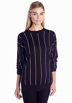 MICHAEL Michael Kors Long Sleeve Pinstripe Sweater