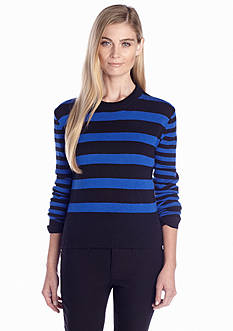 MICHAEL Michael Kors Long Sleeve Striped Crew Neck Sweater