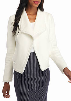 MICHAEL Michael Kors Fray Trim Tweed Jacket