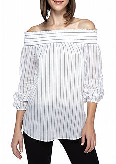 MICHAEL Michael Kors Off Shoulder Stripe Top