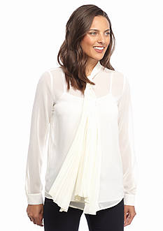 MICHAEL Michael Kors Pleated Neck Tie Blouse