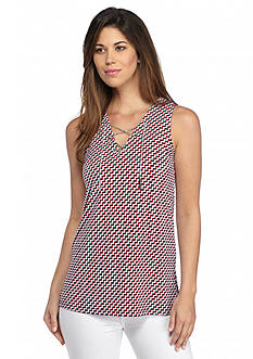 MICHAEL Michael Kors Esher Print Chain Lace Up Tunic Top