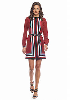 MICHAEL Michael Kors Striped Long Sleeve Shirt Dress