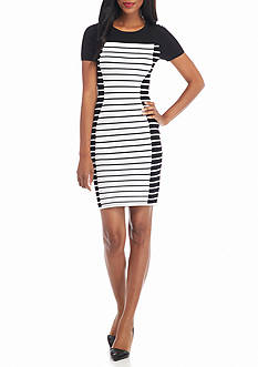 MICHAEL Michael Kors Striped Short Sleeve Sweater Dress