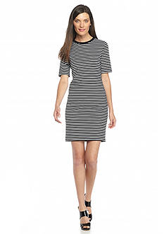 MICHAEL Michael Kors Striped Crew Neck Shift Dress