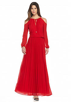 MICHAEL Michael Kors Solid Cold Shoulder Maxi Dress