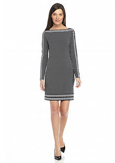 MICHAEL Michael Kors Printed Boat Neck Shift Dress