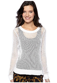 MICHAEL Michael Kors Long Sleeve Mesh Crew Neck Sweater