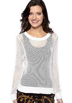 MICHAEL Michael Kors Long Sleeve Mesh Crew Neck Sweater