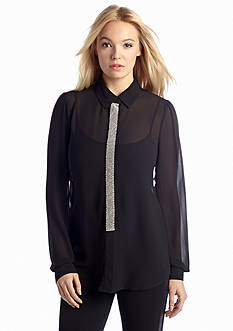 MICHAEL Michael Kors Embellished Button Front Collared Top