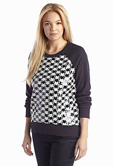 MICHAEL Michael Kors Embellished Houndstooth Print Knit Top