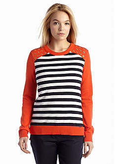 MICHAEL Michael Kors Colorblocked Striped Studded Sweater