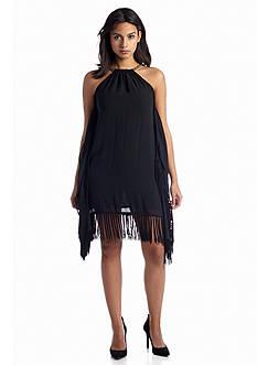 MICHAEL Michael Kors Chain-Halter Fringed Dress