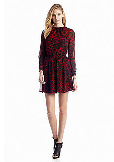 MICHAEL Michael Kors Smocked Animal Print Dress
