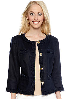 MICHAEL Michael Kors Linen Four Pocket Smock Trim Jacket