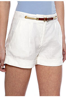 MICHAEL Michael Kors Linen Pleat Short with Belt Embellishment