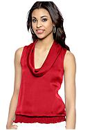 MICHAEL Michael Kors Sleeveless Smocked Cowl Neck Blouse
