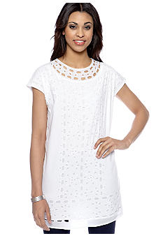 MICHAEL Michael Kors Eyelet Panel Tunic Top