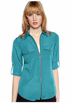 MICHAEL Michael Kors Dog Tag Zip Camp Shirt