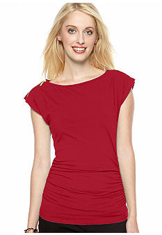 MICHAEL Michael Kors Short Sleeve Zip Shoulder Top