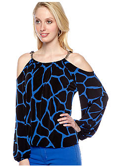 MICHAEL Michael Kors Giraffe Print Cold Shoulder Top with Chain Detail