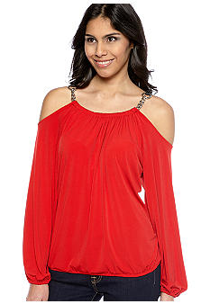 MICHAEL Michael Kors Chain Link Cold Shoulder Top
