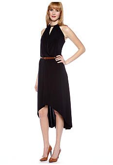 MICHAEL Michael Kors Halter Dress with Hi Low Hemline and Belt